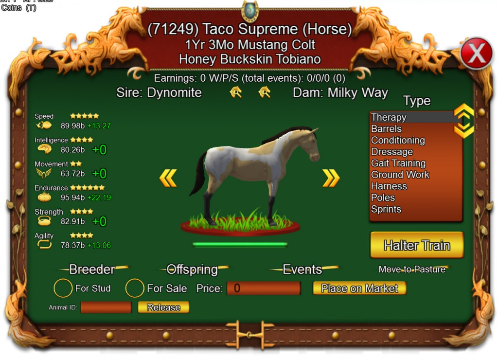 I play too! Here's a horse I bred!